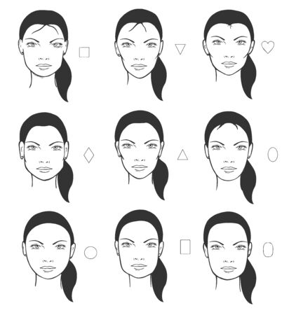 Vector illustration of different female face types and shapes. Square, triangle straight and inverted, heart, rhombus, oval, round, rectangle. Vintage hand drawn style.