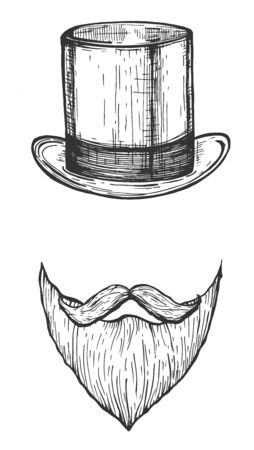 Vector illustration of male cylinder hat and beard with moustaches. Man portrait frame accessories. Vintage hand drawn style. Ilustracja