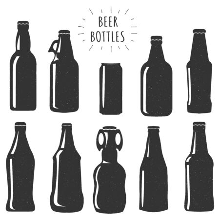 Vector illustration of beer bottles silhouette set. Different jar styles. Simple, can, wide, with handle. Ilustracja