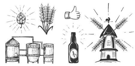 Illustrazione vettoriale di set di icone di birra. Serbatoi del processo di produzione della birra, bottiglie, luppolo e grano, mulino a vento con lame per colture. Evviva il gesto della mano umana. Stile vintage disegnato a mano.