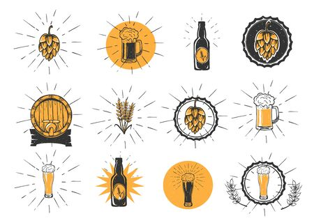 Vector illustration of beer making kit. Hops, mug or stein, bottle, cap, wheat crops, barrel with tap, weizen glass. Glow rays and yellow accents. Vintage hand drawn style. Ilustracja
