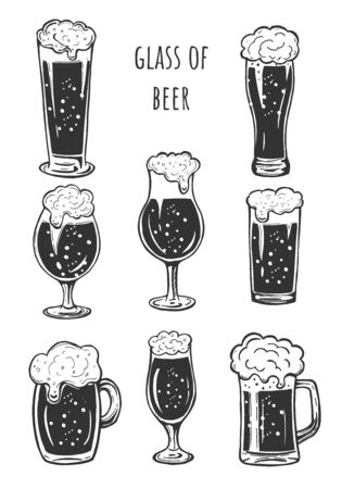 Vector illustration of beer glasses silhouette simple icons set. Stange, weizen, snifter, mug or stein, pint.