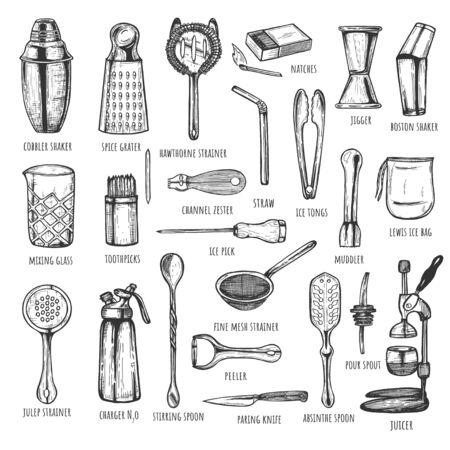 Vektor-Illustration von Bar-Barkeeper-Instrumenten und Werkzeugen. Barkeeper Mixen, Öffnen und Garnieren von Utensilien. Vintage handgezeichneter Stil