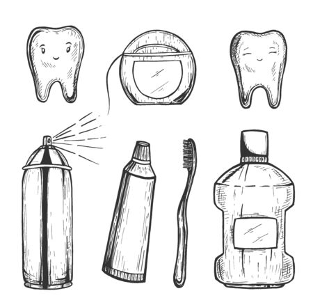 Vector illustration of teeth brushing objects set. Brush, floss, toothpaste, mouthwash bottle, spray. Dental concept. Dentistry and orthodontics. Vintage hand drawn style.