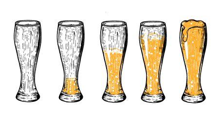 Ilustración de vector de cerveza en vaso weizen. Vacío, un poquito, medio, tres cuartos, lleno. Estilo vintage dibujado a mano con acentos de color amarillo.