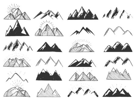 Vector illustration of mountains and hills icons set. Different styles realistic, polygonal, linear, sketchy, silhouette. Vintage hand drawn style.
