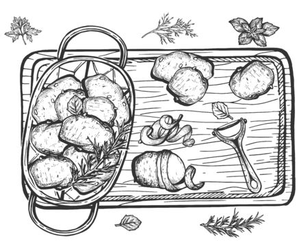 Vector illustration of potato cooking still life. Top view. Pot with vegetables standing on the wooden board. Peeler and peel on the side. Vintage hand drawn style. Ilustracja