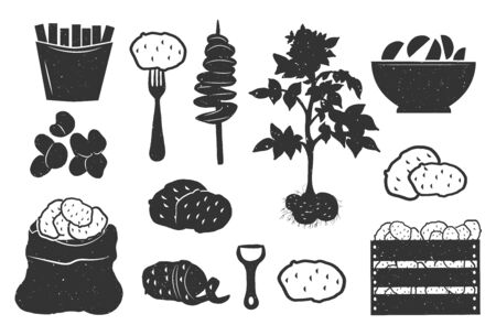Vector illustration of potato silhouette monochrome flat vintage icons set. French fries, on fork, spiral, plant, served on plate, baked, sack, peeled, peeler, linear, basket, box. Hand drawn style Ilustração