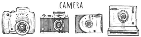 Vector illustration of cameras set. Front view of mirror cam, vintage, instant. Device assortment for making image, taking photos. Vintage hand drawn style. Ilustracja