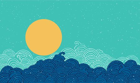 Vector illustration of ocean wave in traditional Japanese style. Blue water splash of ripple sea and starry sky. Marine theme. Vintage hand drawn style.
