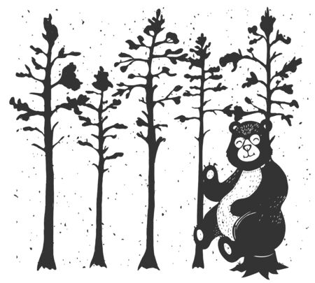 Vector illustration of grizzly bear sitting on tree stump in forest. Cartoon kawai animal character. Vintage hand drawn style. Stok Fotoğraf - 138240588