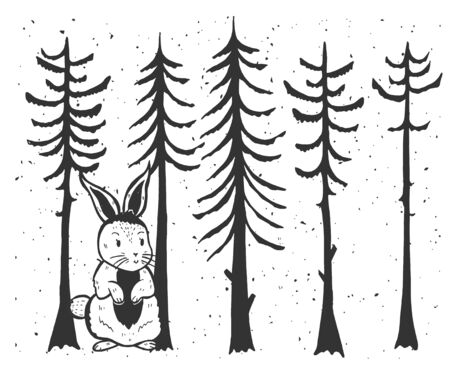Vector illustration of cute funny hare in forest. Cartoon animal character, snowflakes, pine trees in woodland. Vintage hand drawn style. Ilustracja