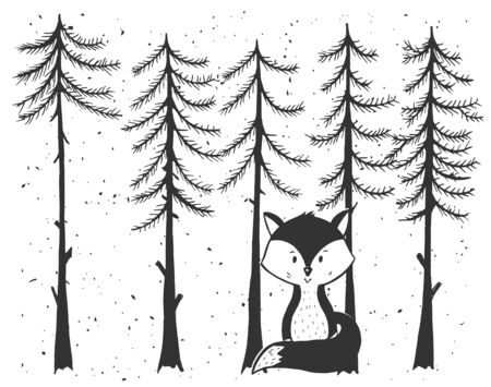 Vector illustration of little baby fox in forest. Cute cartoon animal character. Winter snowfall landscape with pine trees. Vintage hand drawn style.