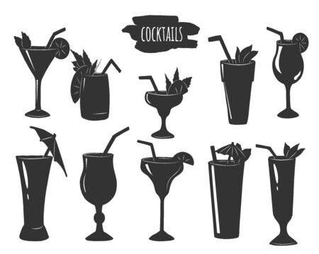 Vector illustration of cocktails with paper umbrellas set. Simple silhouette stencil style icons. Martini, tall, long drink, highball. Vintage hand drawn style.