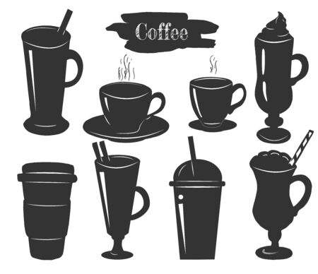 Vector illustration of simple stencil coffee cups icons set. Cappuccino, Americano, latte, Irish, in paper and plastic disposable glasses. Vintage hand drawn style.  イラスト・ベクター素材