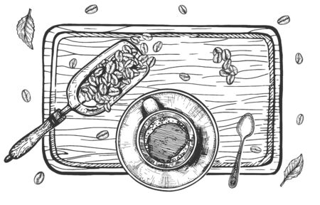 Vector illustration of morning cappuccino coffee still life. Porcelain cup on saucer with silver teaspoon and beans in spatula on tray. Vintage hand drawn style.