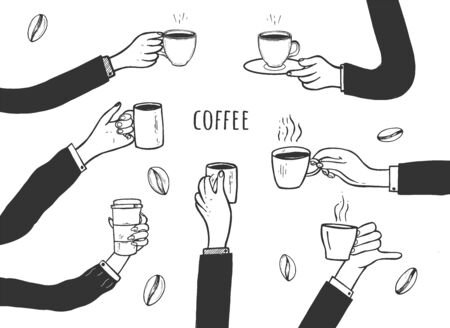 Vector illustration of simple cartoon hands with cups of coffee. Flat icons. Have break, enjoy free time, good morning concept. Vintage hand drawn style.  イラスト・ベクター素材