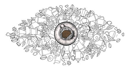 Vector illustration of americano or cappuccino coffee cup surrounded with simple linear doodle about this drink. Vintage hand drawn style. Ilustracja