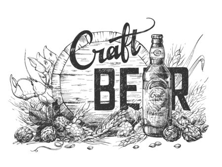Illustrazione vettoriale di composizione di iscrizione di calligrafia di birra artigianale su sfondo di botte di legno, luppolo, grano e bottiglia. Illustrazione perfetta per il menu del pub o del bar. Stile vintage disegnato a mano