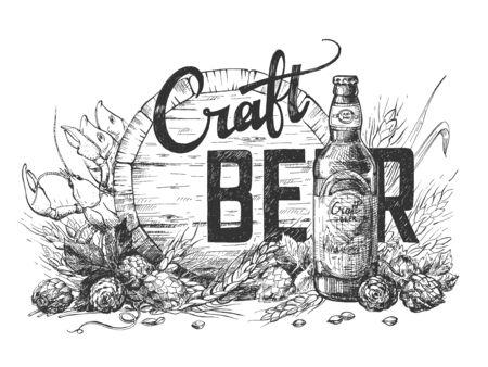 Vector Illustration der Craft Beer-Kalligraphie-Beschriftungszusammensetzung auf Holzfass, Hopfen, Weizen und Flaschenhintergrund. Perfekte Illustration für Pub- oder Barmenü. Vintage handgezeichneter Stil