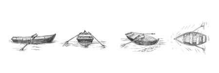 Vector illustration of empty rowboat with paddles on lake set. Objects from different angle. Front, back, three quarters, top view boat. Vintage hand drawn style.