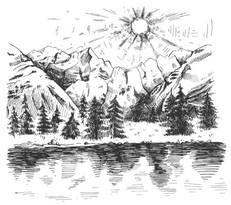 Vector illustration of natural highlands panoramic scene. Sunrise in mountains with lake and pine forest trees. Vintage hand drawn style. Ilustracja