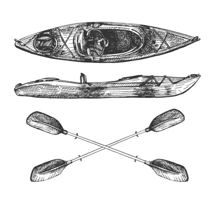 Vector illustration of canoe travel set. Top and side view on wooden kayak boat and crossed paddles or oars. Fishing and tourism concept. Vintage hand drawn style.  イラスト・ベクター素材