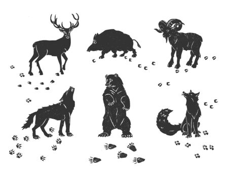 Vector illustration of forest animals set. Simple stencil silhouette icon drawings. Deer, wild boar, wolf, bear, fox, mountain goat and traces. Vintage hand drawn style. 向量圖像