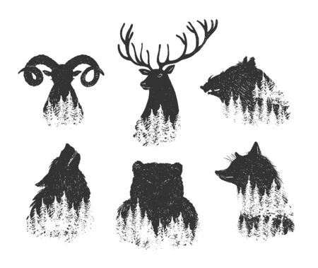 Vector illustration of wild animals heads transitioning into forest set. Simple stencil silhouette icon drawings. Deer, wild boar, wolf, bear, fox, mountain goat. Vintage hand drawn style