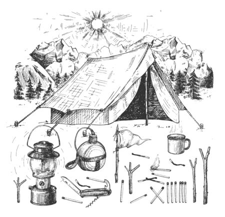 Vector illustration of camping, hiking objects set. Tent in mountains, gas lamp, metal water bottle flask, camp mug, Swiss army knife, matches, banner or small flag. Vintage hand drawn style Ilustracja