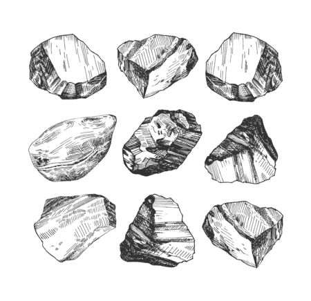 Vector illustration of different shape stones set. Precious stones, crystals, gemstones set. Vintage hand drawn style.