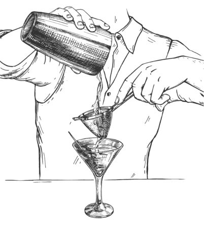 Vector illustration of cocktail making drink mixing process. Male barman pouring alcohol from Boston shaker to martini glass through strainer. Vintage hand drawn style.