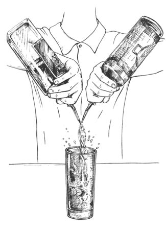 Vector illustration of fresh cocktail making mixing process. Barman in uniform free pouring alcohol from bottles to tall drink glass with ice. Vintage hand drawn style.