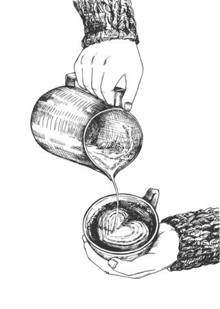 Vector illustration of hot aroma drink preparation process and servicing. Barista pouring milk foam into coffee cappuccino cup drawing heart. Vintage hand drawn style.