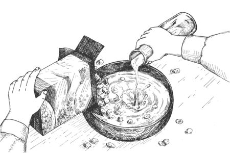 Vector illustration of fast breakfast cooking process. Hands pouring milk from bottle into corn flakes or oat porridge in bowl. Vintage hand drawn style. Ilustracja