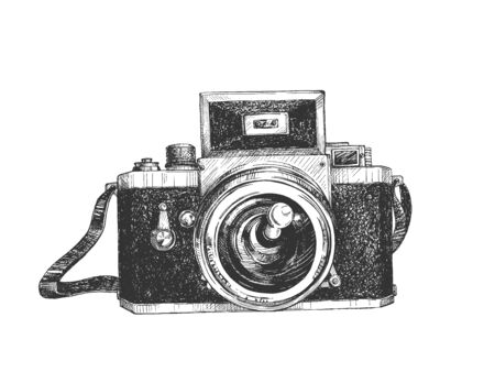 Vector illustration of vintage mirror camera. Front view on retro still image registration device. Old photographing equipment. Vintage hand drawn style.