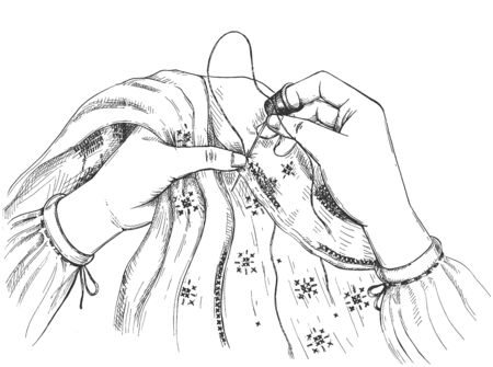 Vector illustration of creative handiwork hobby. Female hands sawing in cross stitching technique. Beautiful embroidery seam creation. Vintage hand drawn style.