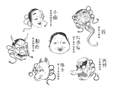 Vector illustration of traditional Japanese theatre masks set. Koomote, Okina, Otafuku, Tengu, Kitsune, Hannya. Vintage hand drawn style.