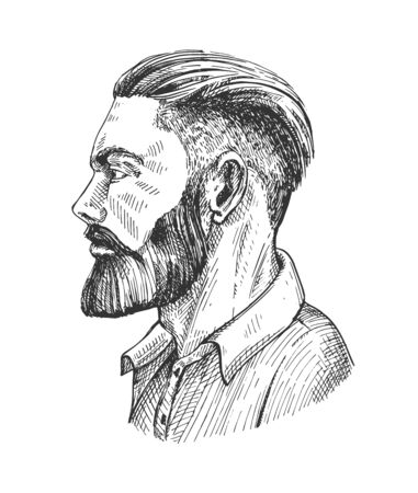 Vector illustration of man hipster with beard side portrait. Abstract male face in profile. Side-view of bearded businessman avatar. Vintage hand drawn style. Stok Fotoğraf - 144985491