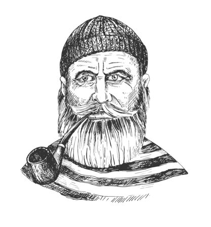 Vector illustration of old captain man in beanie with smoking pipe portrait. Bearded hipster ship sailor. Marine nautical seaman character in stripped t-shirt. Vintage hand drawn style.  イラスト・ベクター素材