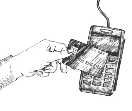 Vector illustration of contactless electronic payment pos terminal system. Human hand holding plastic bank debit or credit card paying and purchasing. Vintage hand drawn style.