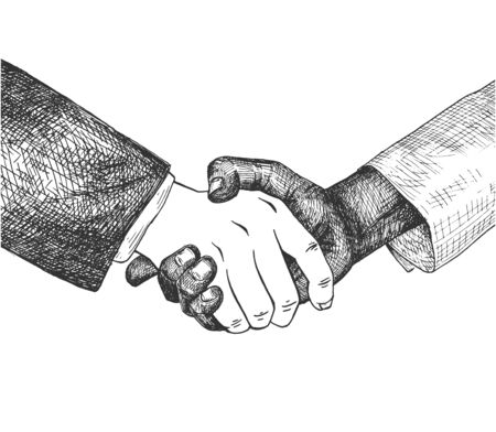 Vector illustration of business partnership. Handshake of pale light and deep dark skin tone male hands. , Successful international agreement, deal. Vintage hand drawn style.