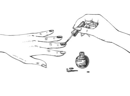 Vector illustration of manicure making process. Female hand applying fingernail polish and opened bottle with enamel. Nails covering process with brush. Vintage hand drawn style.  イラスト・ベクター素材