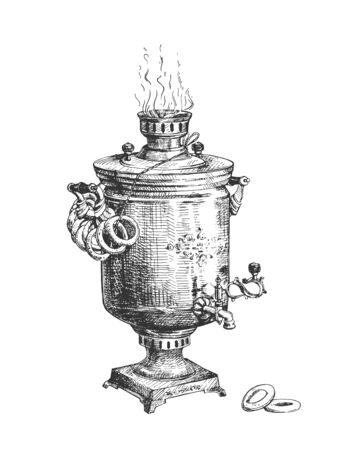 Vector illustration of samovar. Metal container traditionally used to heat and boil water in Russia. Typically applied to make tea. Decorated with Sushki bread rings. Vintage hand drawn style.