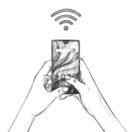 Vector illustration of wireless internet technology. Wi-fi connection sign and human hands holding smartphone touching screen. Vintage hand drawn style.