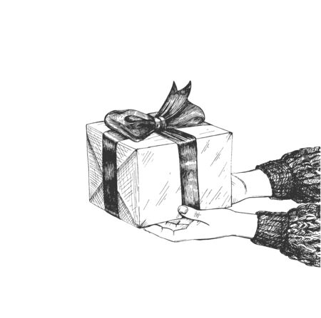 Vector illustration of holiday and birthday congratulation. Human hands giving present in box decorated with bow. Side view. Vintage hand drawn style. Stok Fotoğraf - 142968764