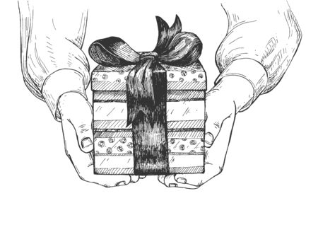 Vector illustration of greeting card with gift in palms. Human hands giving present in box decorated with bow front view. Congratulation to viewer . Vintage hand drawn style.  イラスト・ベクター素材