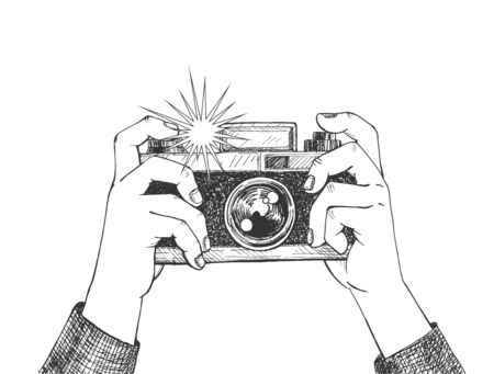 Vector illustration of photo shot making process. Human hands holding vintage photo camera. Flashlight moment. Vintage hand drawn style.  イラスト・ベクター素材