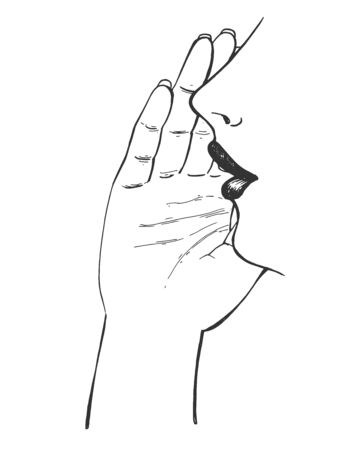 Vector illustration of gossip gesture sign. Girl gossiping, telling secret, talking quietly slightly covering lips with hand. Vintage hand drawn style.