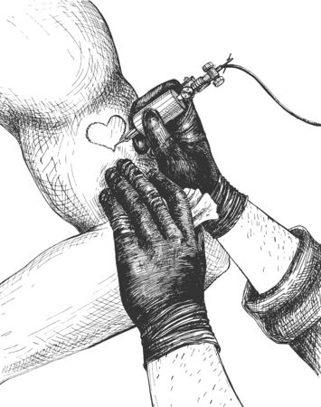 Vector illustration of professional tattoo-artist at work. Tattoo master arms wearing gloves drawing heart with tattoo-machine on male hand biceps. Salon advertisement. Vintage hand drawn style.